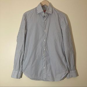Isaia Napoli grey blue white striped button down shirt